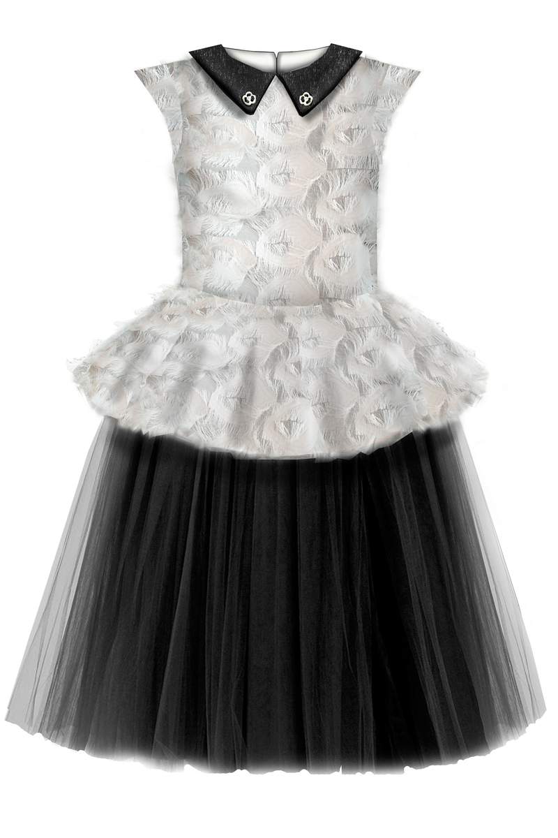 ⋆Limited Edition⋆ White & Black Fluffy Girls Peplum Tutu Dress with Black Collar - LAZY FRANCIS - Shop in store at 406 Kings Road, Chelsea, London or shop online at www.lazyfrancis.com