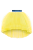 lazy francis summer party bright Yellow High-Low Tulle Skirt with Denim Belt