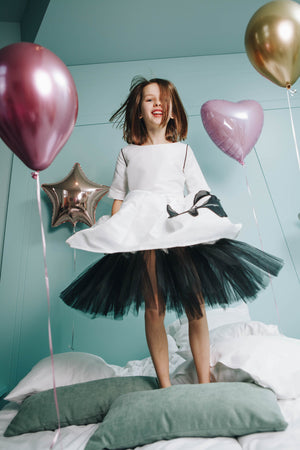 White Taffeta Full Dress with Black Hem and Cat Appliqué