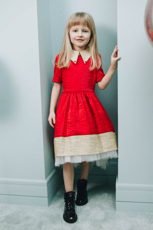 Red Girls High-Low Dress with Gold Beige Collar and White Tulle - LAZY FRANCIS - Shop in store at 406 Kings Road, Chelsea, London or shop online at www.lazyfrancis.com