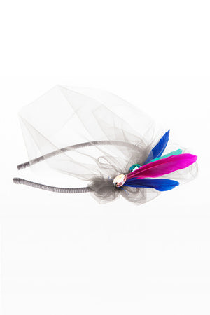 Grey Exotic Bird Feather Headband - LAZY FRANCIS - Shop in store at 406 Kings Road, Chelsea, London or shop online at www.lazyfrancis.com