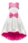 White Flower Motif Jacquard High-Low Girls Designer Special Occasion Dress with Fuchsia Lace Bow by Lazy Francis Birthday Flower Girl Prom Front Sale