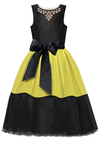 Black Taffeta and Soft Neoprene Woman's Dress - LAZY FRANCIS - Shop in store at 406 Kings Road, Chelsea, London or shop online at www.lazyfrancis.com