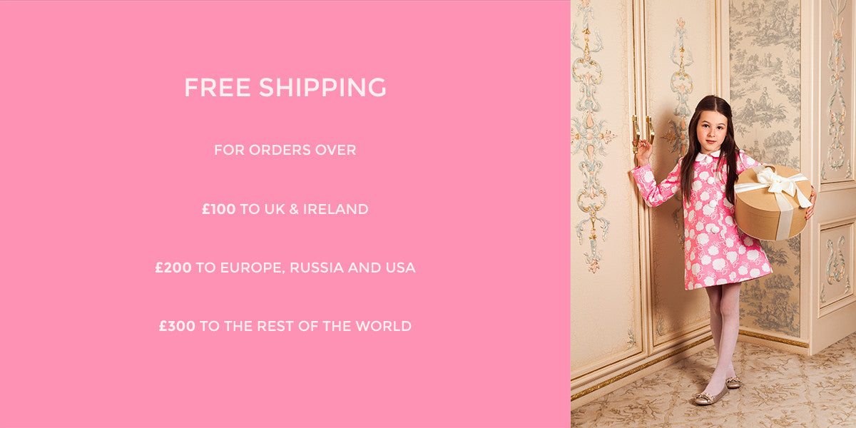 FREE SHIPPING ON ORDERS OVER £100 (UK AND IRELAND), OVER £200 (EUROPE, RUSSIA AND USA), OVER £300 TO THE REST OF THE WORLD)