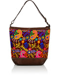 EMBROIDERED FABRIC LEATHER MIX TOTE BAG - FLORAL CONCEPT