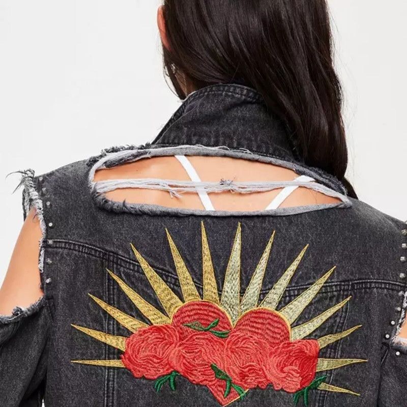 Ladies Jean Jacket Girls, cut at back and sleeve , Embroidered Jacket For Women Collection