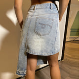 Asymmetric Women Denim Skirt High Waist Irregular Casual Large Size Midi Denim Skirt