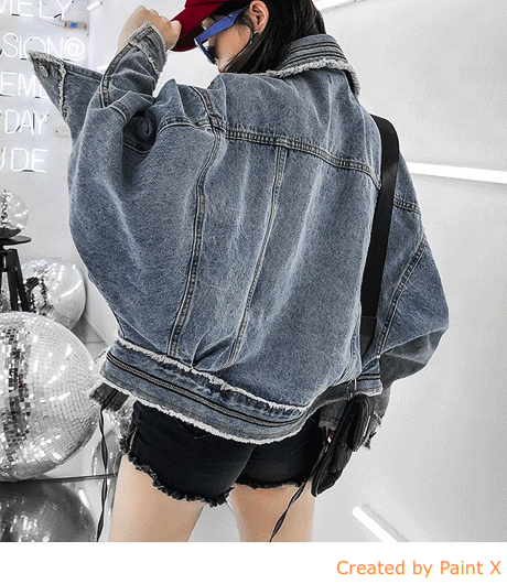 1300 Spring And Summer  Street Fashion Women Loose Light Blue Denim Jacket Ladies Jean Jacket