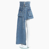 Asymmetrical Denim Skirt High Waist With Sashes Streetwear Irregular Casual Women Skirts