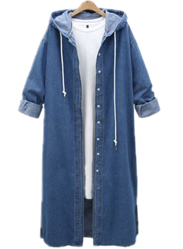 Spring And Summer  Street Fashion Women Long Light Weight  Blue Denim Jacket/Shirt Jacket