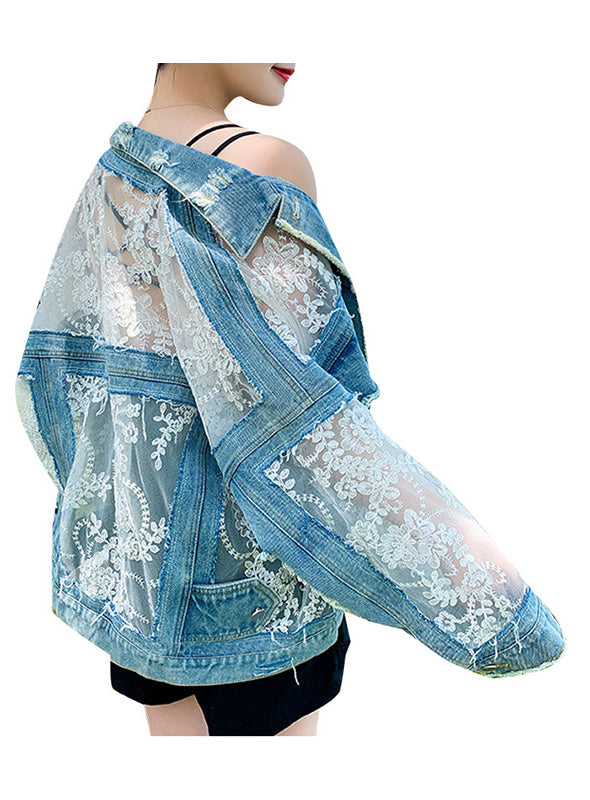 Patchwork Lace Women's Coat Lapel Collar Long Sleeve Denim Jacket Women Fashion Clothes
