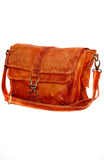 Leather Double Flap Washed Waxed Across Body Bag