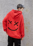 hip hop street custom smile print color stitching hoodie men's autumn clothes sports hoodie