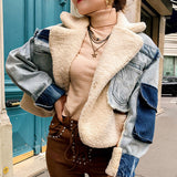 Autume Winter short Denim women jacket with flees - Street Wear  Handcrafted