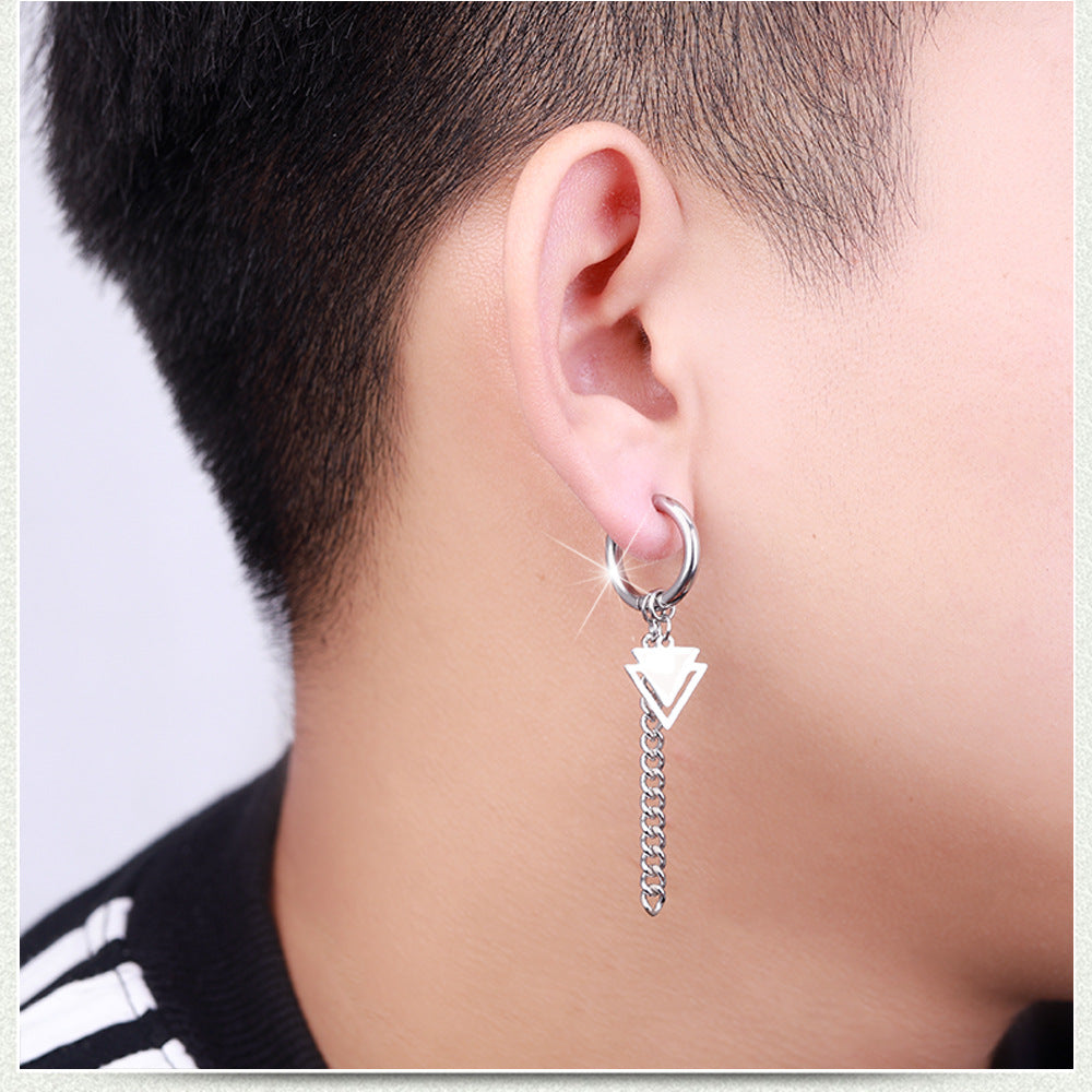 Cool Vintage Punk / Gothic/ Rock  Stainless Steel Ear Ring with Chain