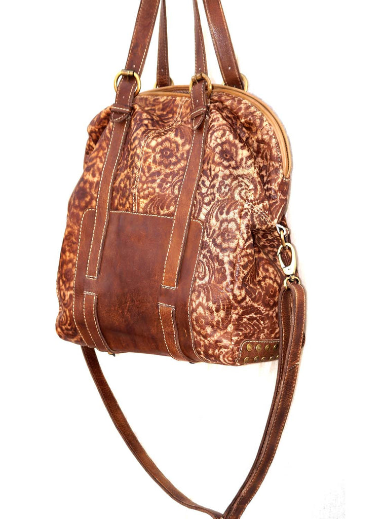 Schiffli Fabric Bonded Big Hobo Leather Bag