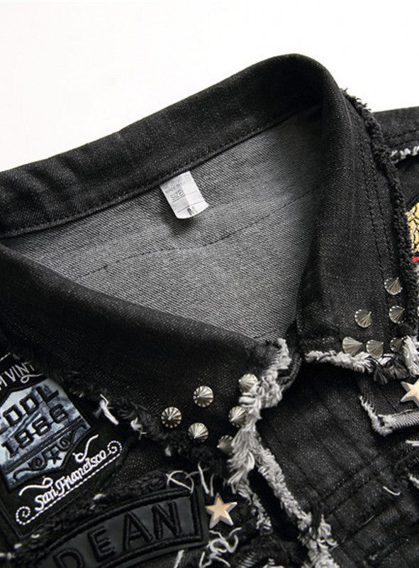 3003 Top Sale Men Sleeveless Embroider Cotton Denim Jacket
