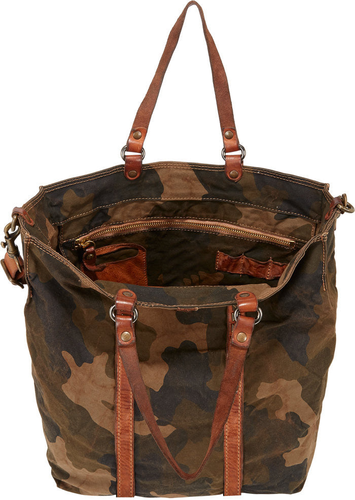Women Washed Vintage Military Fabric Leather Trims Large Tote Bag
