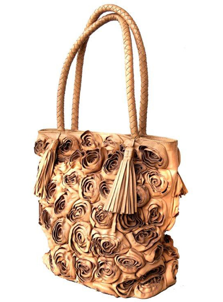 Women Rosa Designer Floral Leather Shopper Bag