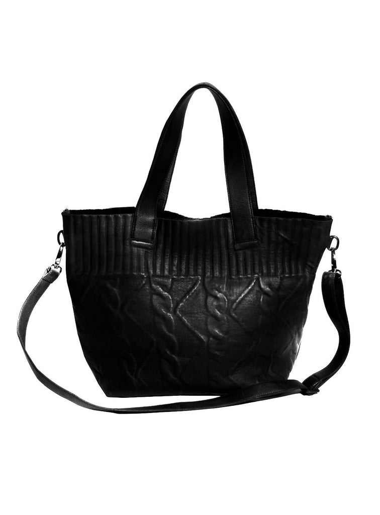 Women Cable Knit Bonded Border Textured Leather Shopper Bag- New
