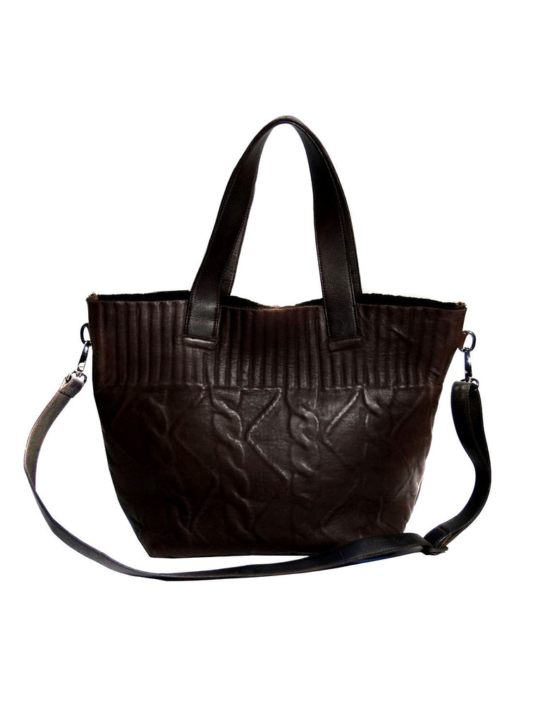 Vannamoda Women Cable Knit Bonded Border Textured Leather Shopper Bag- New