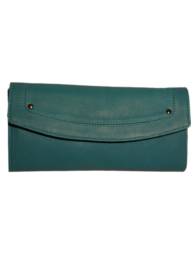 Women Leather Casual Classic Clutch Bag One Size / Sea Green / Lamb Leather, Clutch Bag - CrabRocks, LeatherfashionOnline  - 1
