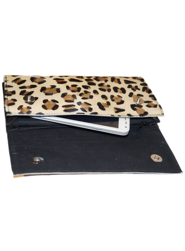 Leather Ladies Hair On Leopard Print Clutch Bag , Ladies Clutch Bags - CrabRocks, LeatherfashionOnline  - 3