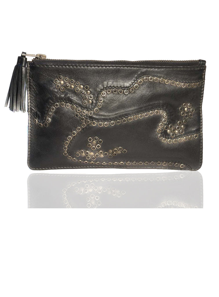 Women Clutch Bag with Rivets and Long Tassels One Size / Black / Lamb Leather, Clutch Bag - CrabRocks, LeatherfashionOnline  - 1