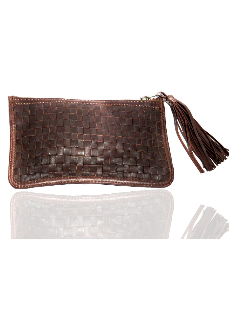 Leather Ladies Woven Clutch Bag Brown, Ladies Clutch Bags - CrabRocks, LeatherfashionOnline  - 3