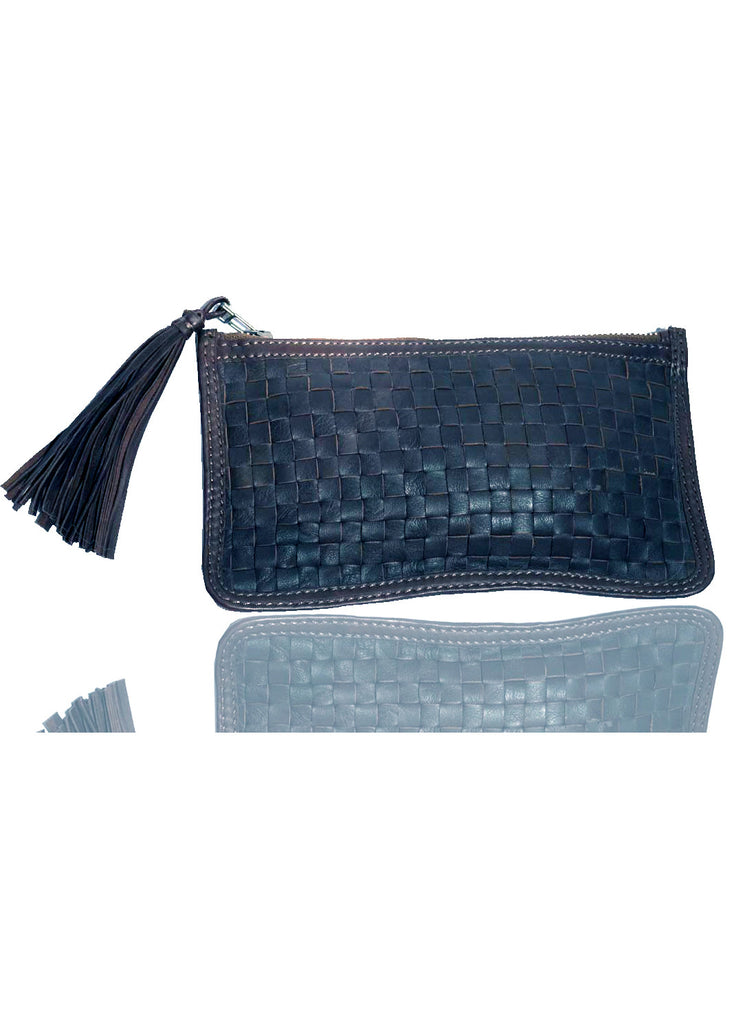 Leather Ladies Woven Clutch Bag , Ladies Clutch Bags - CrabRocks, LeatherfashionOnline  - 5