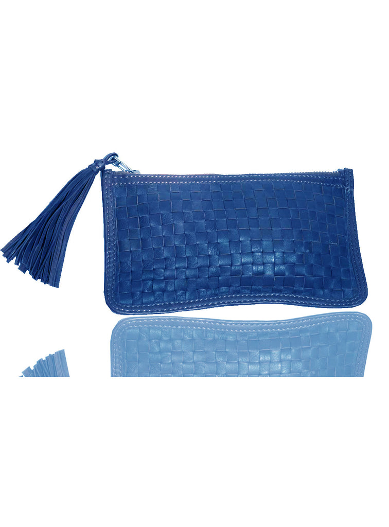 Leather Ladies Woven Clutch Bag Blue, Ladies Clutch Bags - CrabRocks, LeatherfashionOnline  - 1
