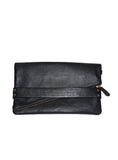 Women Leather Clutch Bag cum Hand Bag One Size / Black / Lamb Leather, Clutch Bag - CrabRocks, LeatherfashionOnline  - 1