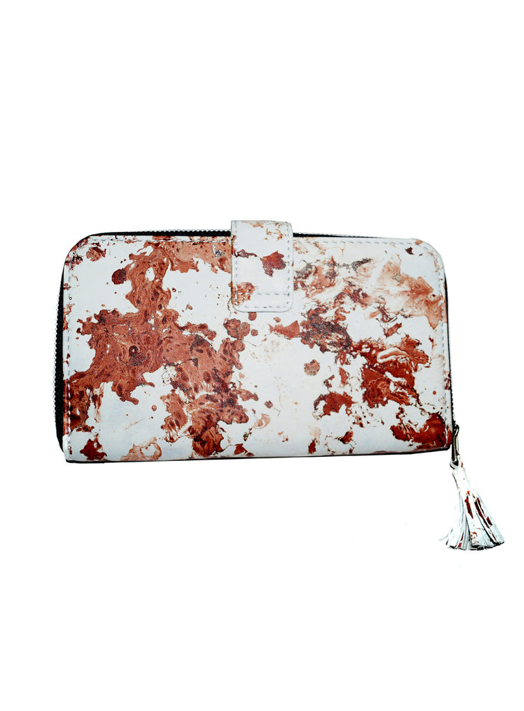 Women Marbled Artistic Leather Clutch Bag , Ladies Clutch Bags - CrabRocks, LeatherfashionOnline  - 2