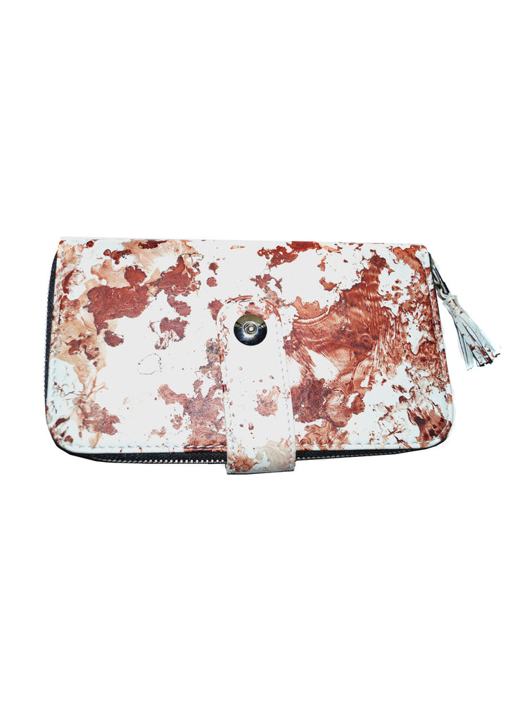 Women Marbled Artistic Leather Clutch Bag , Ladies Clutch Bags - CrabRocks, LeatherfashionOnline  - 1