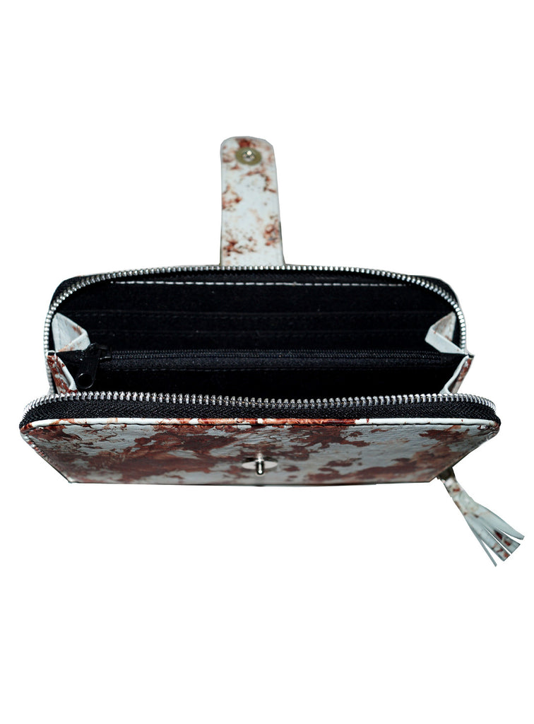 Women Marbled Artistic Leather Clutch Bag , Ladies Clutch Bags - CrabRocks, LeatherfashionOnline  - 4