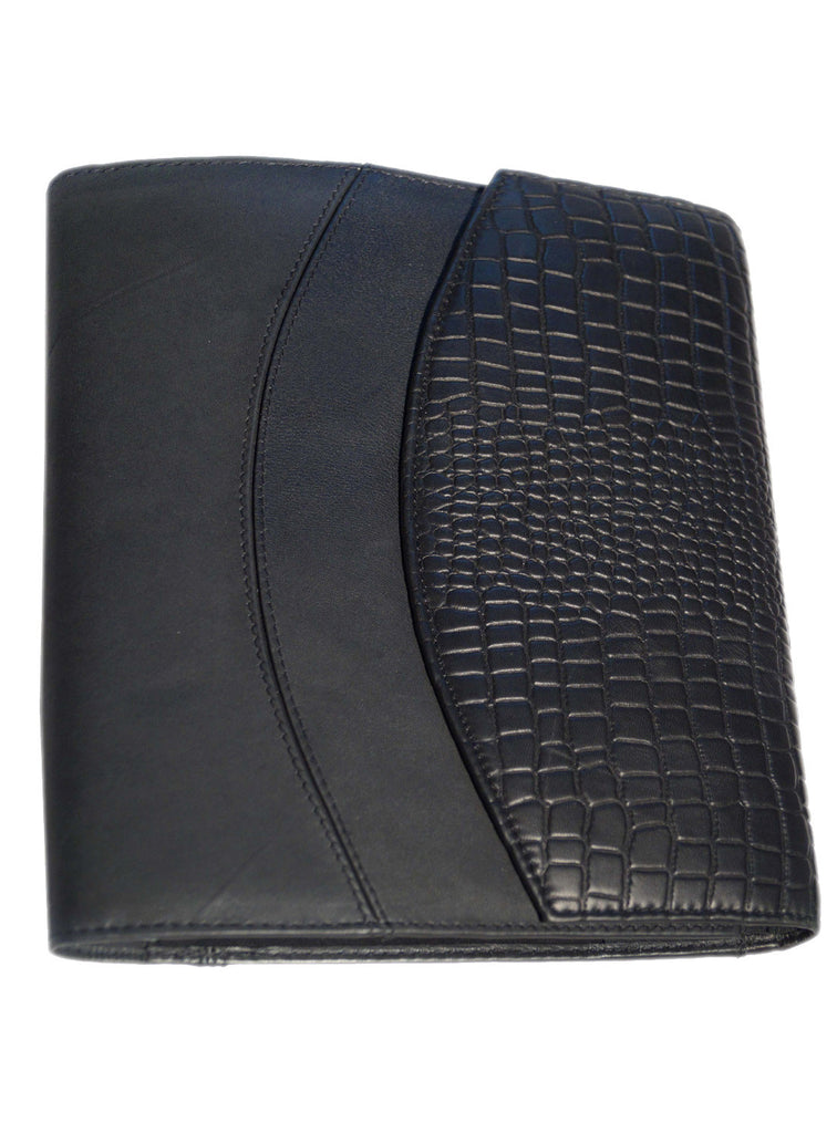 "Designer Big Croco Embossed Leather Diary 11"" X 9""X 1.5"" / Black / Leather, Accessories - CrabRocks, LeatherfashionOnline  - 1"