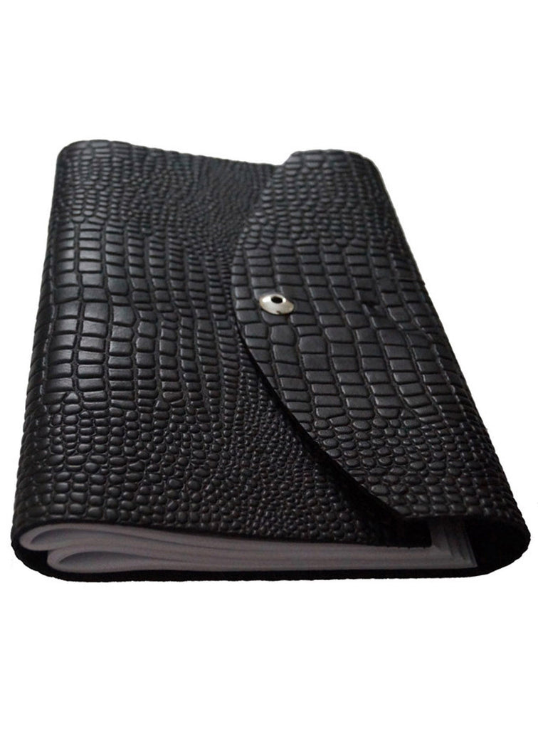 "Croco Embossed Leather Diary/ Journal- Long Book 11"" X 7.5""X  1"" / Black / Leather, Accessories - CrabRocks, LeatherfashionOnline  - 2"