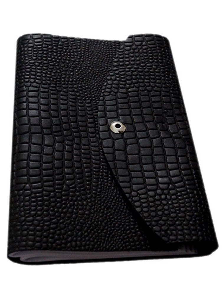Croco Embossed Leather Diary/ Journal- Long Book , Accessories - CrabRocks, LeatherfashionOnline  - 1