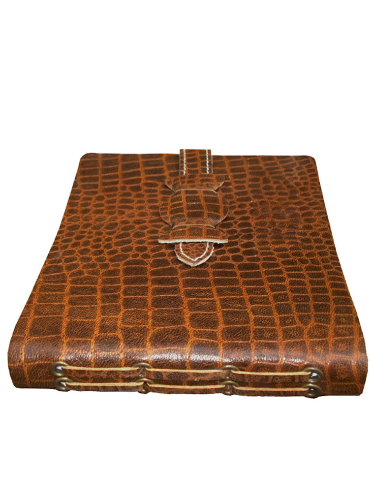 Leather Vintage Croco Look short Personal Journal/ Diary , Accessories - CrabRocks, LeatherfashionOnline  - 1
