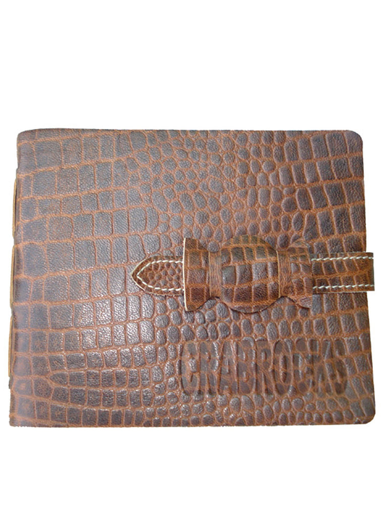 Leather Vintage Croco Look short Personal Journal/ Diary , Accessories - CrabRocks, LeatherfashionOnline  - 3