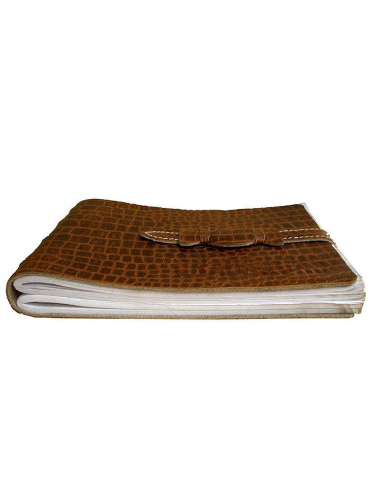 Leather Vintage Croco Look short Personal Journal/ Diary , Accessories - CrabRocks, LeatherfashionOnline  - 5