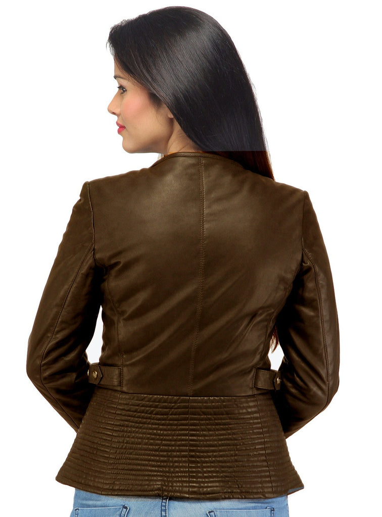 Hand Crafted Leather Multi Quilted Bottom Women Soft Lamb Jacket , Women Jacket - CrabRocks, LeatherfashionOnline  - 6