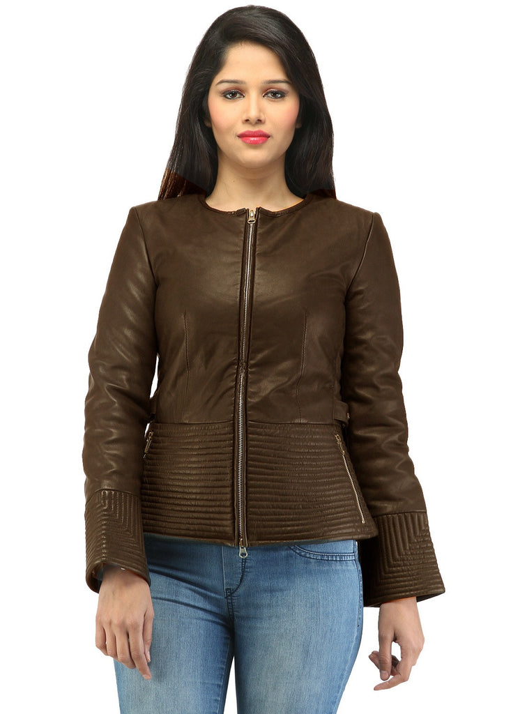 Hand Crafted Leather Multi Quilted Bottom Women Soft Lamb Jacket Brown / XS / LEATHER, Women Jacket - CrabRocks, LeatherfashionOnline  - 2