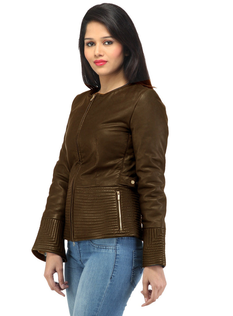 Hand Crafted Leather Multi Quilted Bottom Women Soft Lamb Jacket , Women Jacket - CrabRocks, LeatherfashionOnline  - 3