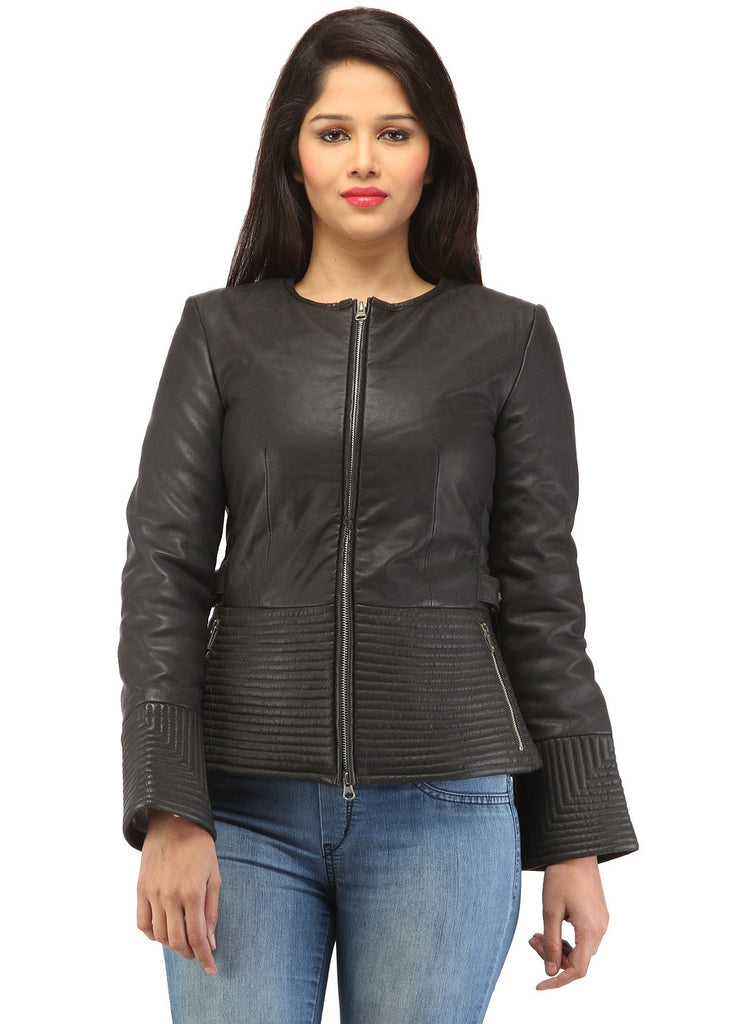 Hand Crafted Leather Multi Quilted Bottom Women Soft Lamb Jacket Black / XS / LEATHER, Women Jacket - CrabRocks, LeatherfashionOnline  - 1