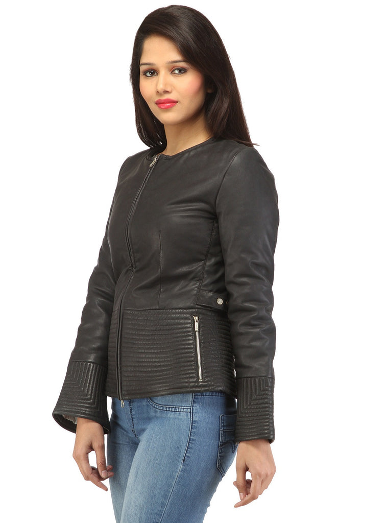 Hand Crafted Leather Multi Quilted Bottom Women Soft Lamb Jacket , Women Jacket - CrabRocks, LeatherfashionOnline  - 4
