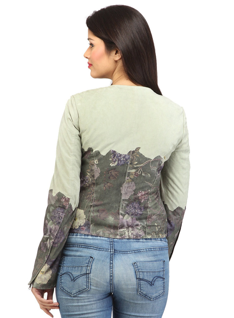 Women Designer Ombre Printed Leather Suede jacket , Women Jacket - CrabRocks, LeatherfashionOnline  - 3
