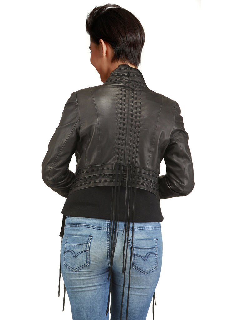 Designer Women Hand Woven Fringed Leather Jacket with long tassels