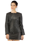Hand Crafted Women Multi Quilted Body Leather Classic Fit Jacket , Women Jacket - CrabRocks, LeatherfashionOnline  - 2