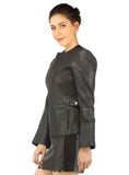 Hand Crafted Women Multi Quilted Body Leather Classic Fit Jacket , Women Jacket - CrabRocks, LeatherfashionOnline  - 3